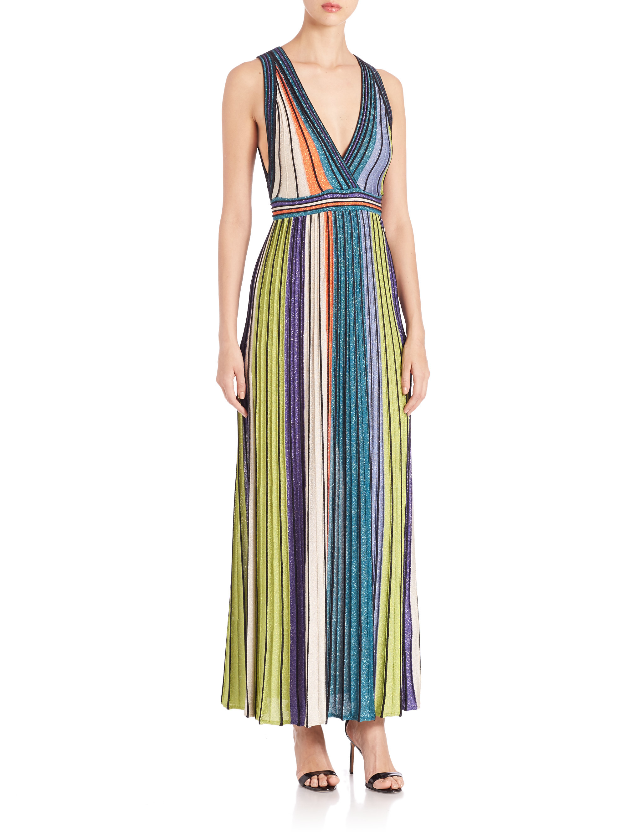 M missoni Metallic-striped Maxi Dress in Blue  Lyst