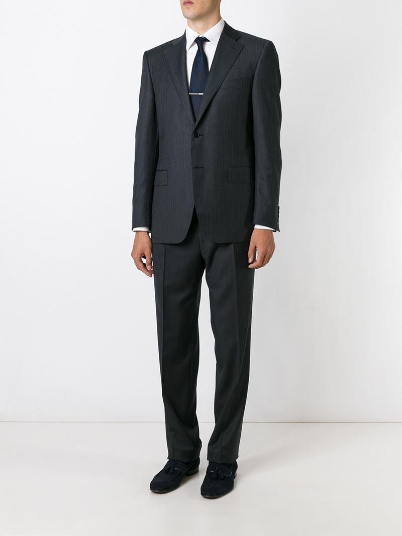 Canali Herringbone Suit in Black for Men   Lyst