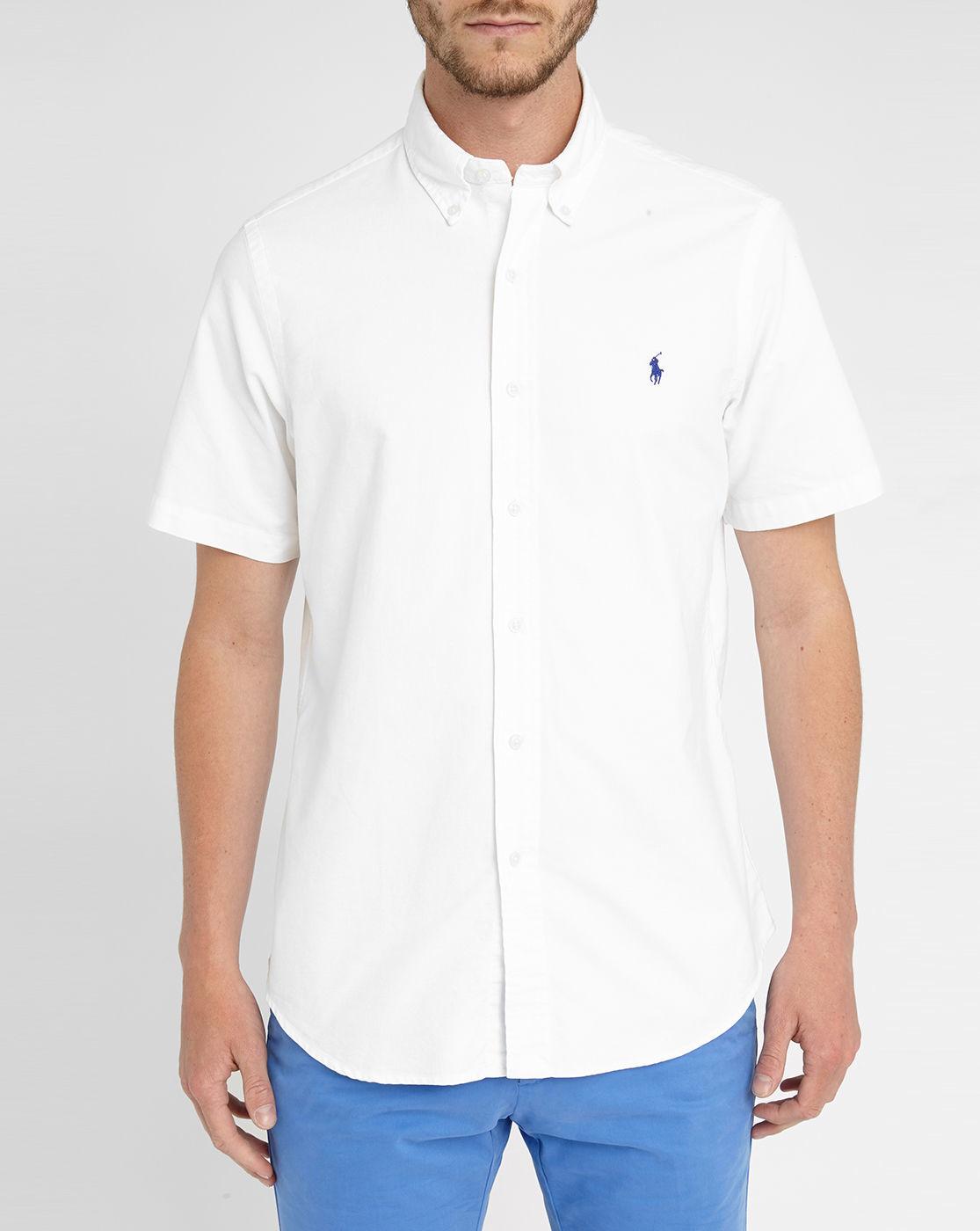 Polo Ralph Lauren White Custom Oxford Short Sleeve Shirt