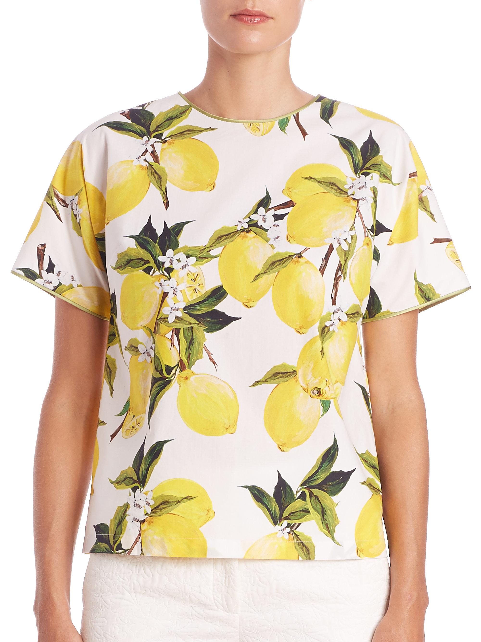 Lyst - Dolce   Gabbana Short-sleeve Cotton Poplin Lemon Top in Yellow ec58c590aaa2e