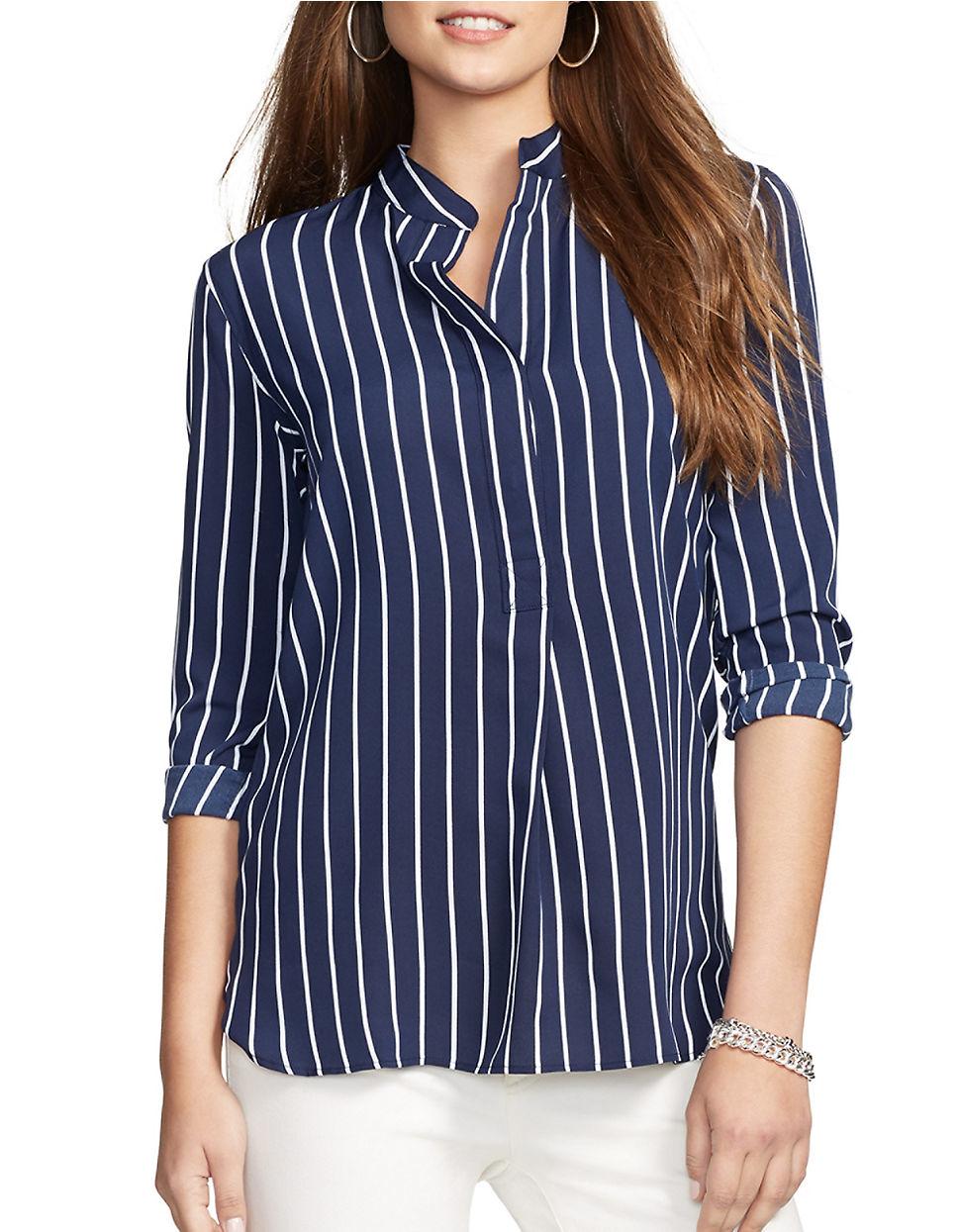 Womens Navy Blue And White Striped Shirt Photo Album ...