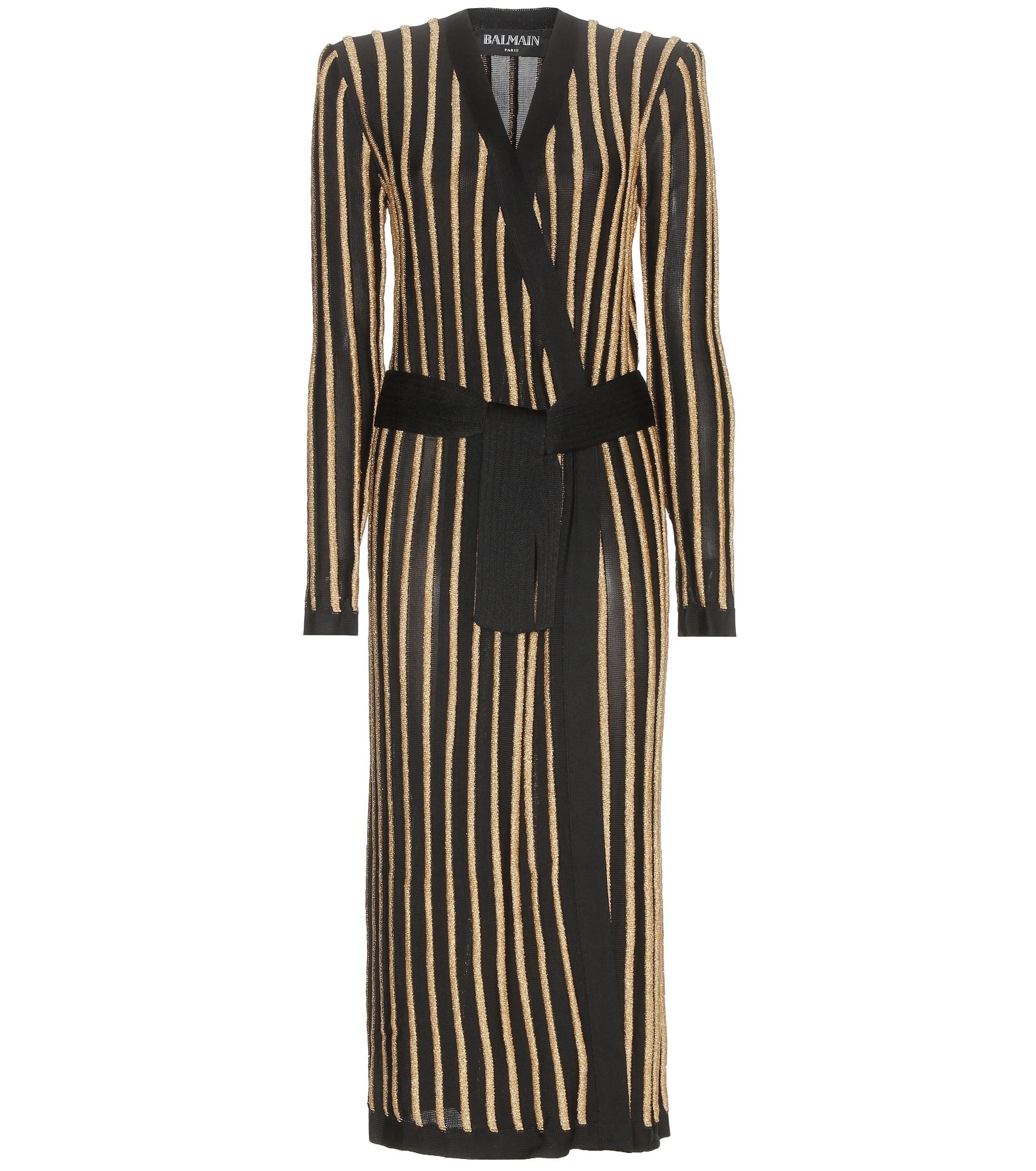 Balmain Striped Long Line Cardigan in Black | Lyst