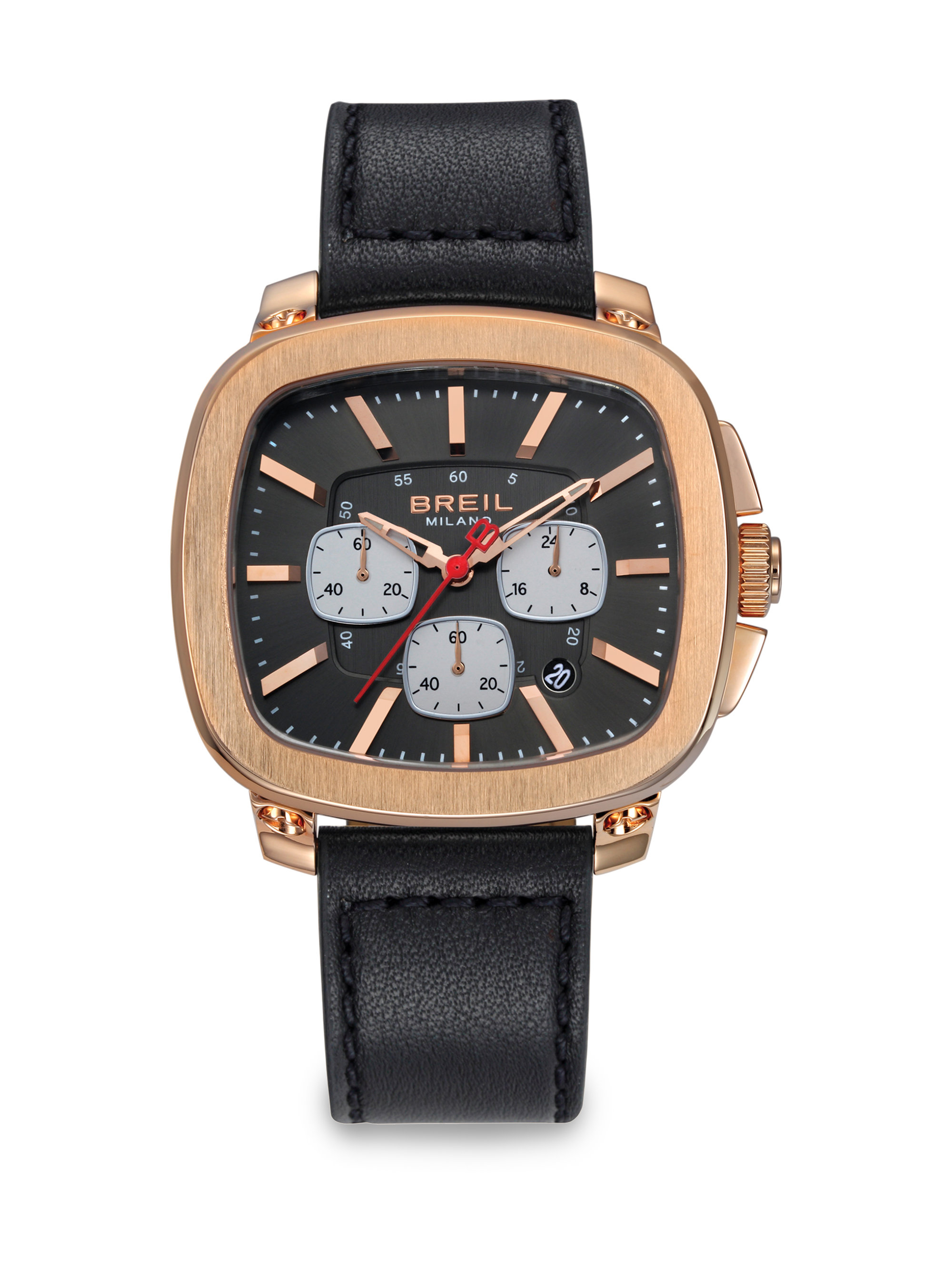 breil rose gold chronograph watch in black for men lyst gallery