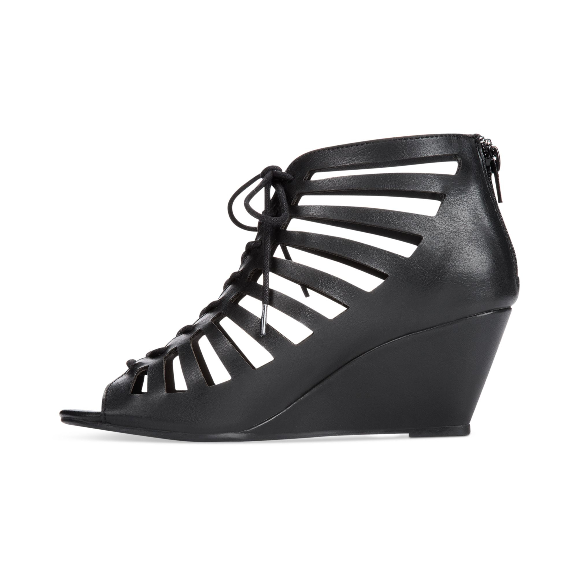 Material Girl Harley Lace Up Wedge Sandals In Black Lyst