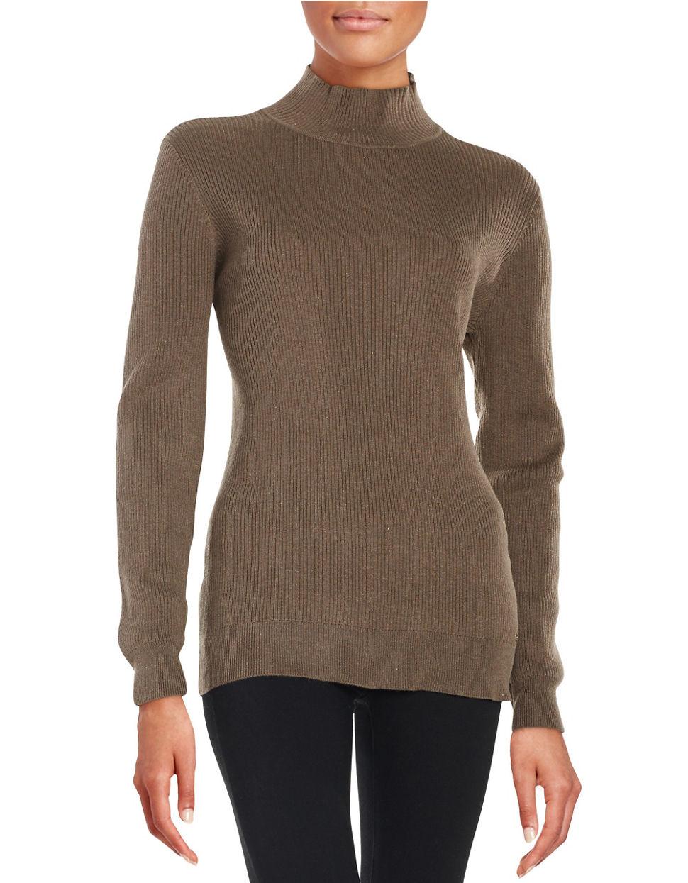 calvin klein mockneck knit sweater in brown lyst. Black Bedroom Furniture Sets. Home Design Ideas