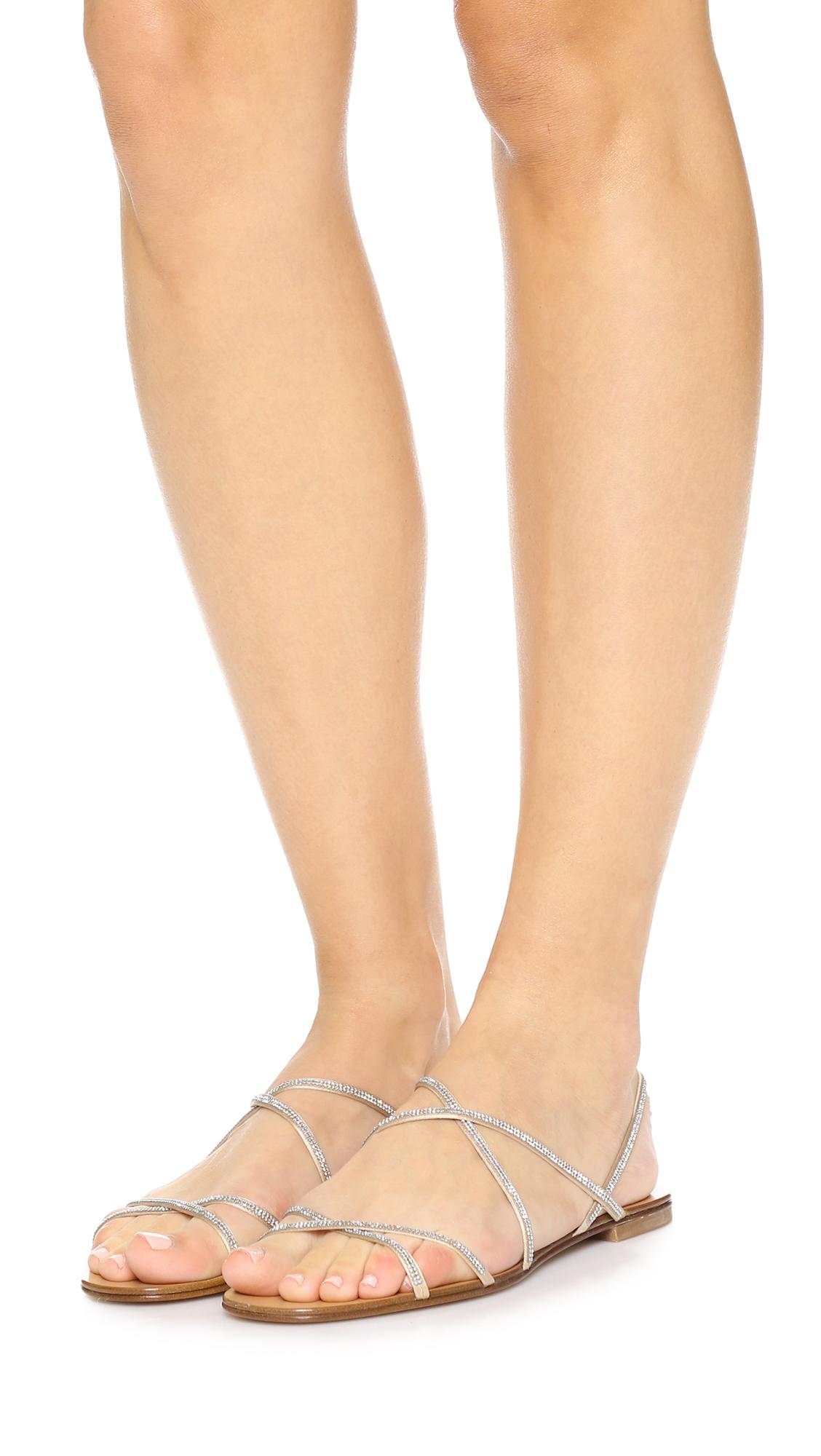 77e596b9556d Lyst - Pedro Garcia Esme Embellished Sandals in Natural