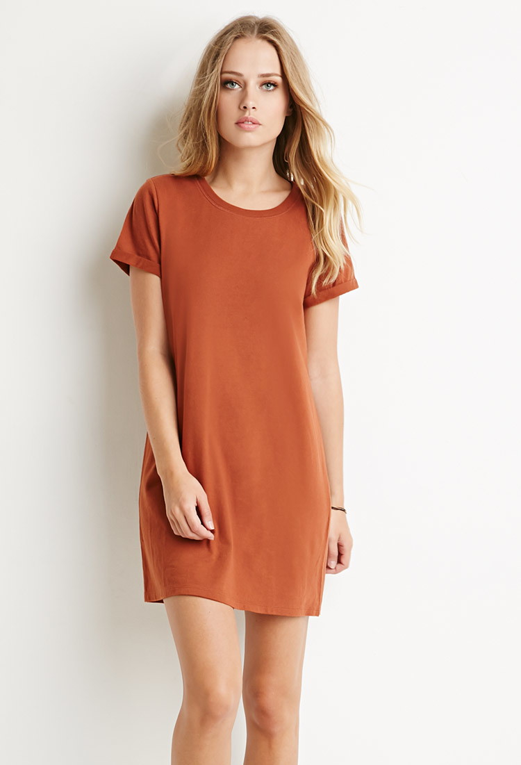 1b5c32fa4c Forever 21 Brown Cotton T-shirt Dress