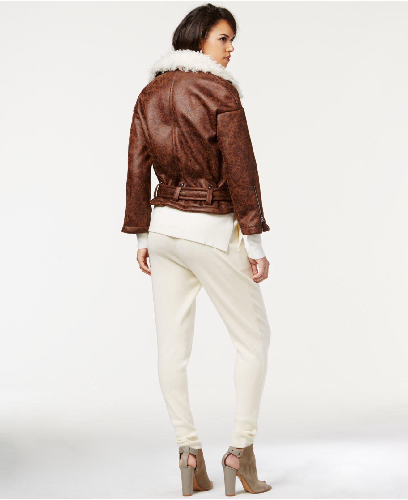 f0ce8521ac9 Lyst - RACHEL Rachel Roy Faux-shearling Moto Jacket in Brown