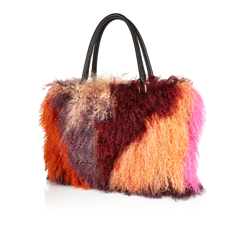 5b727cce201f River Island Pink Mongolian Fur Handbag in Pink - Lyst
