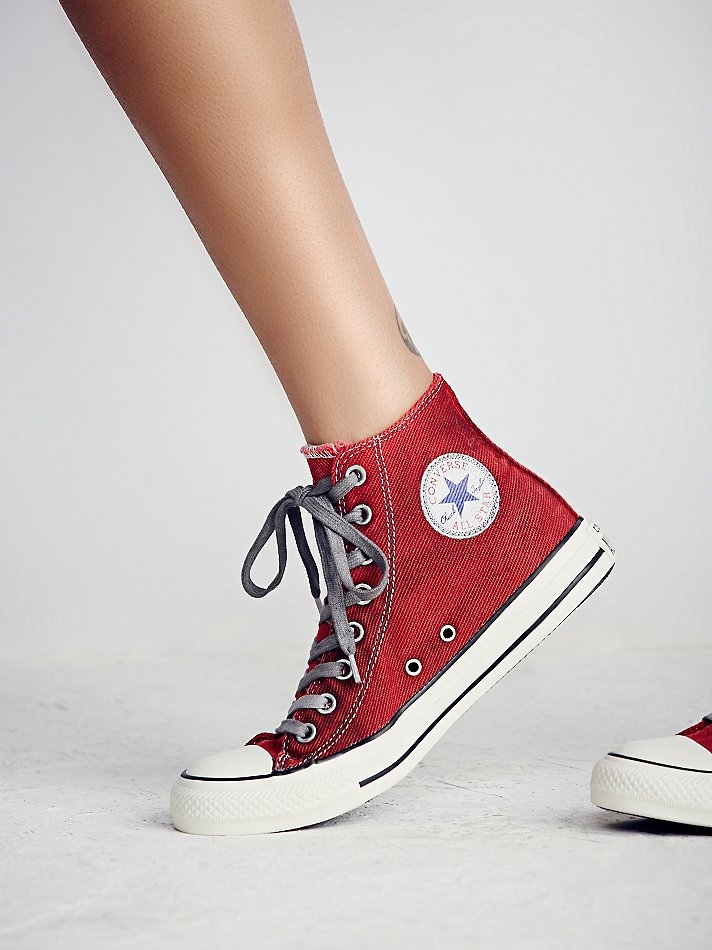 Free People Converse Womens Overdyed Wash High Top Chucks -6899
