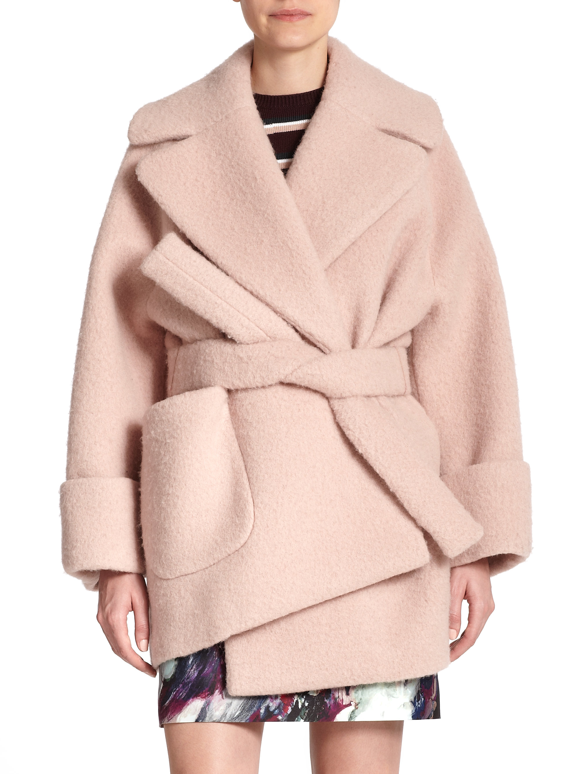 Carven Oversized Manteau Coat in Natural | Lyst