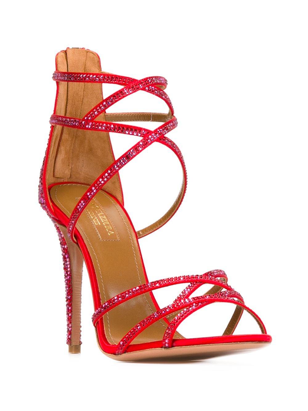 Aquazzura Embellished Strappy Stiletto Sandals In Red Lyst