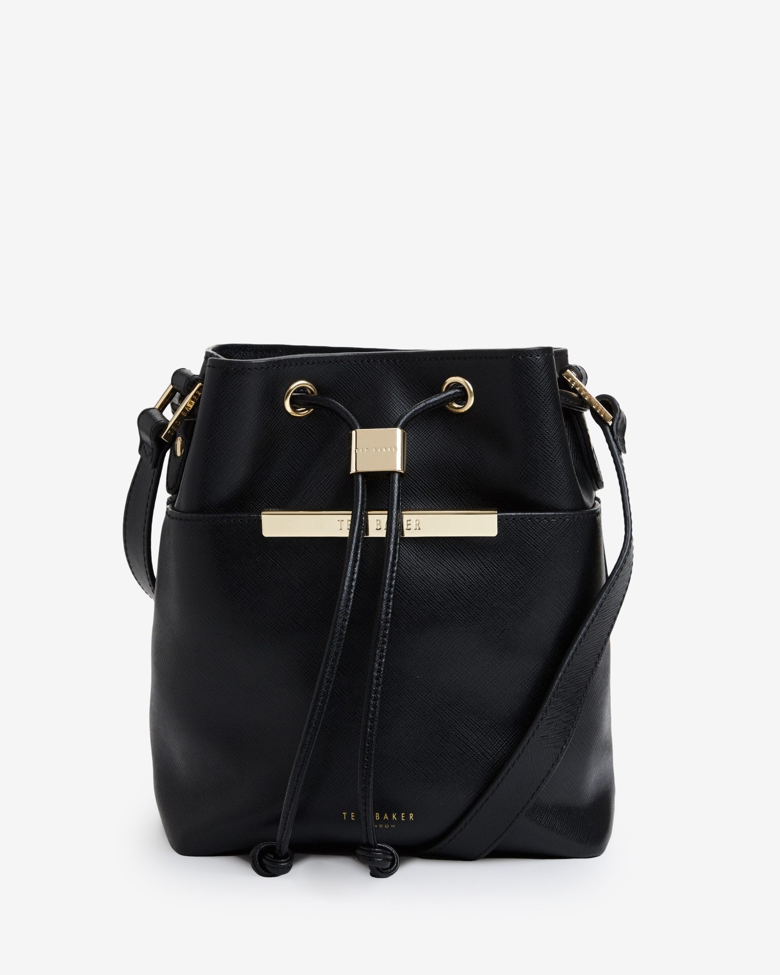 4e2ff911ff93ab Ted Baker Crosshatch Leather Mini Bucket Bag in Black - Lyst