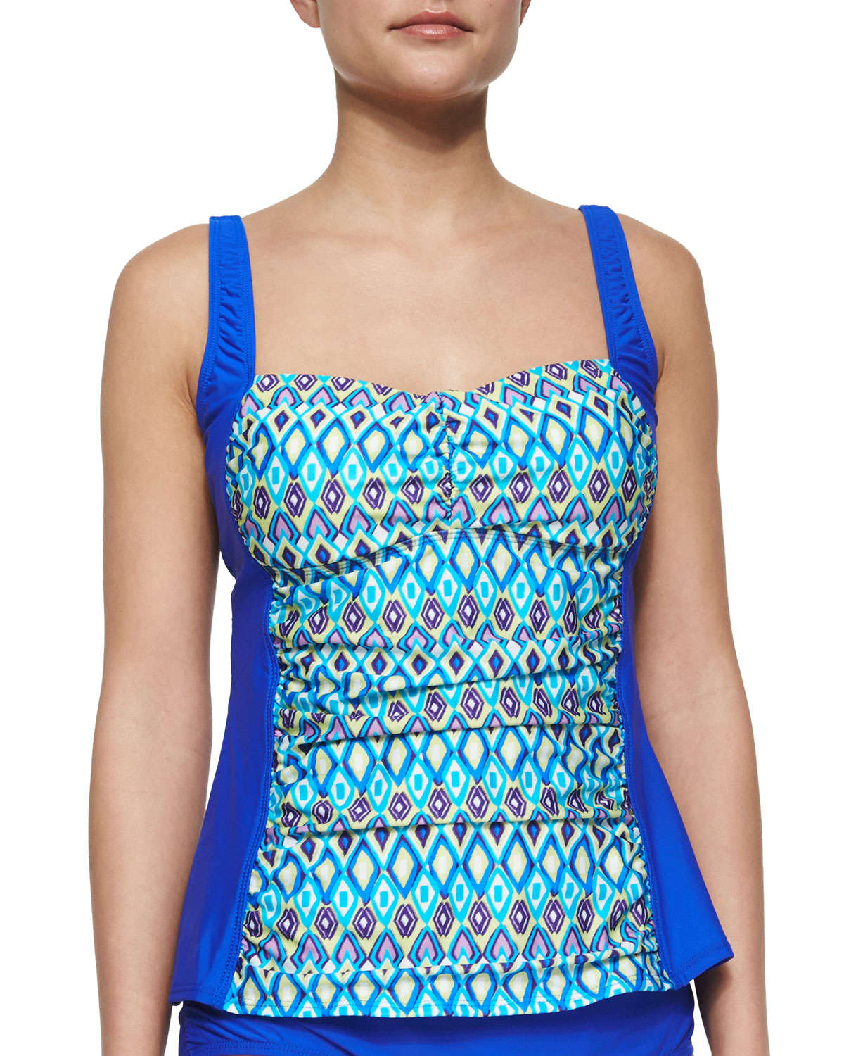 athena printed molded cup tankini top in green blue lyst. Black Bedroom Furniture Sets. Home Design Ideas