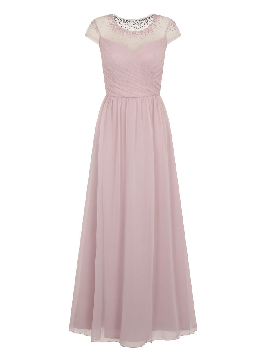 chi chi sheer beaded panel maxi dress in purple lyst