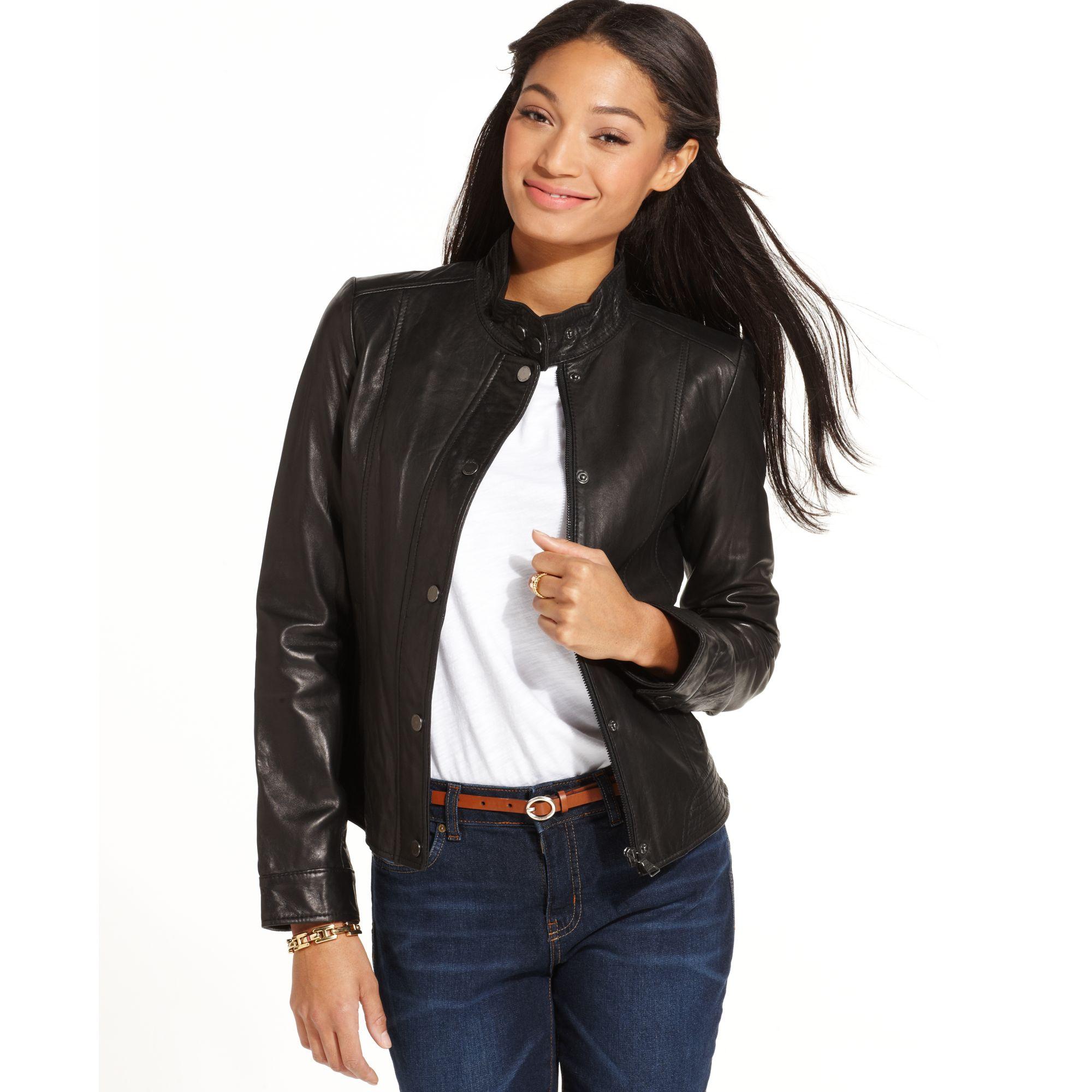 Lyst Tommy Hilfiger Leather Moto Jacket In Black