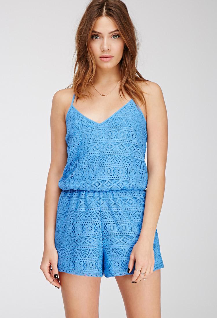 Forever 21 Cami Crochet Romper in Blue Lyst