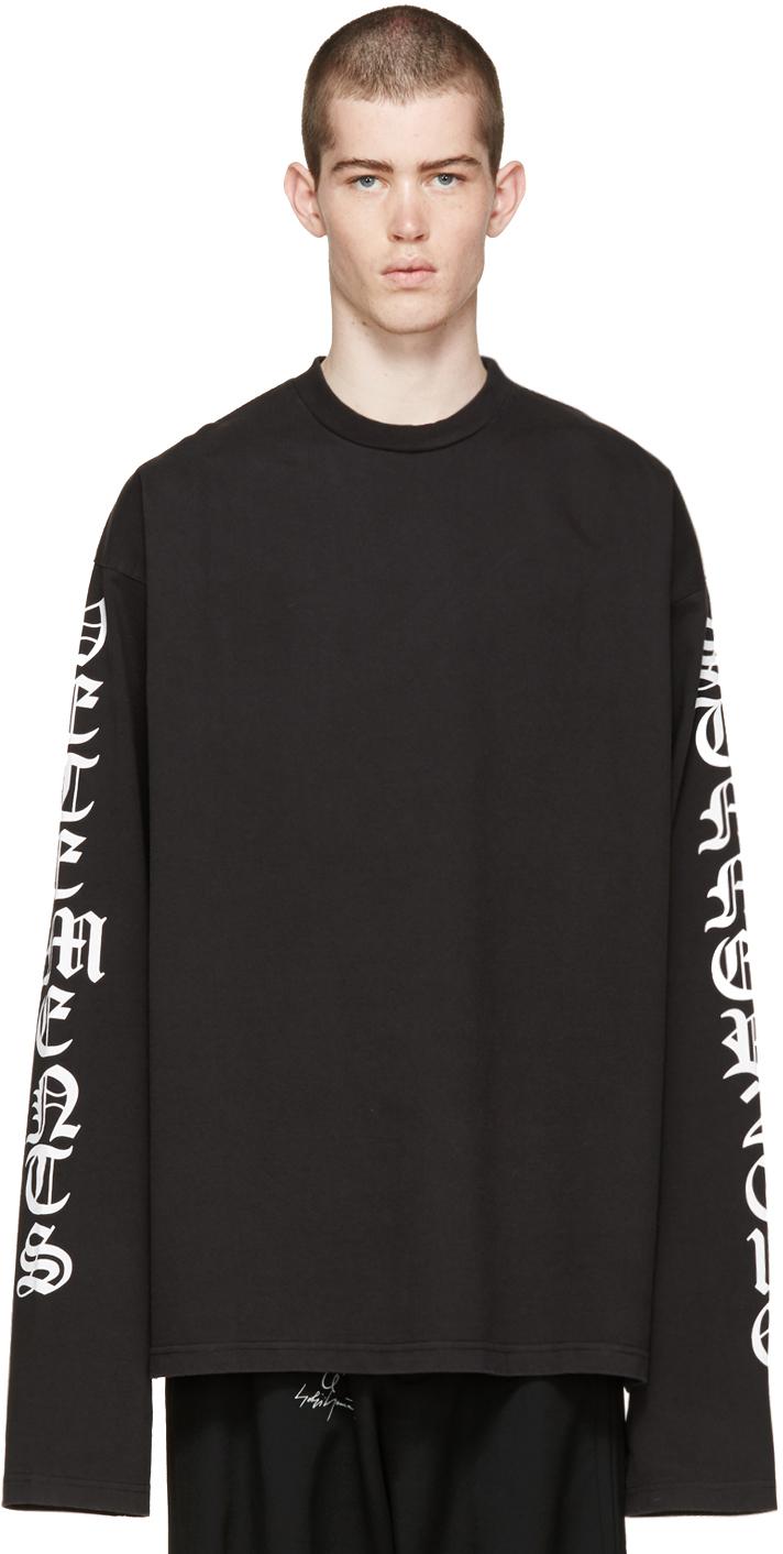 vetements black oversized logo sleeve pullover in black for men lyst. Black Bedroom Furniture Sets. Home Design Ideas