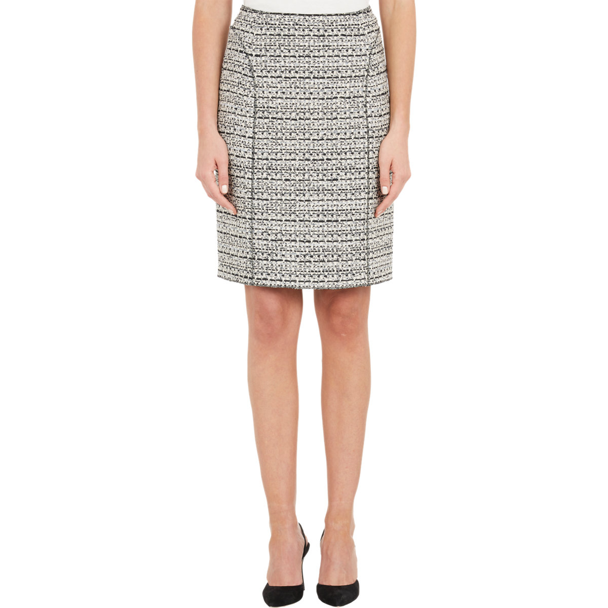 ricci tweed pencil skirt in white lyst