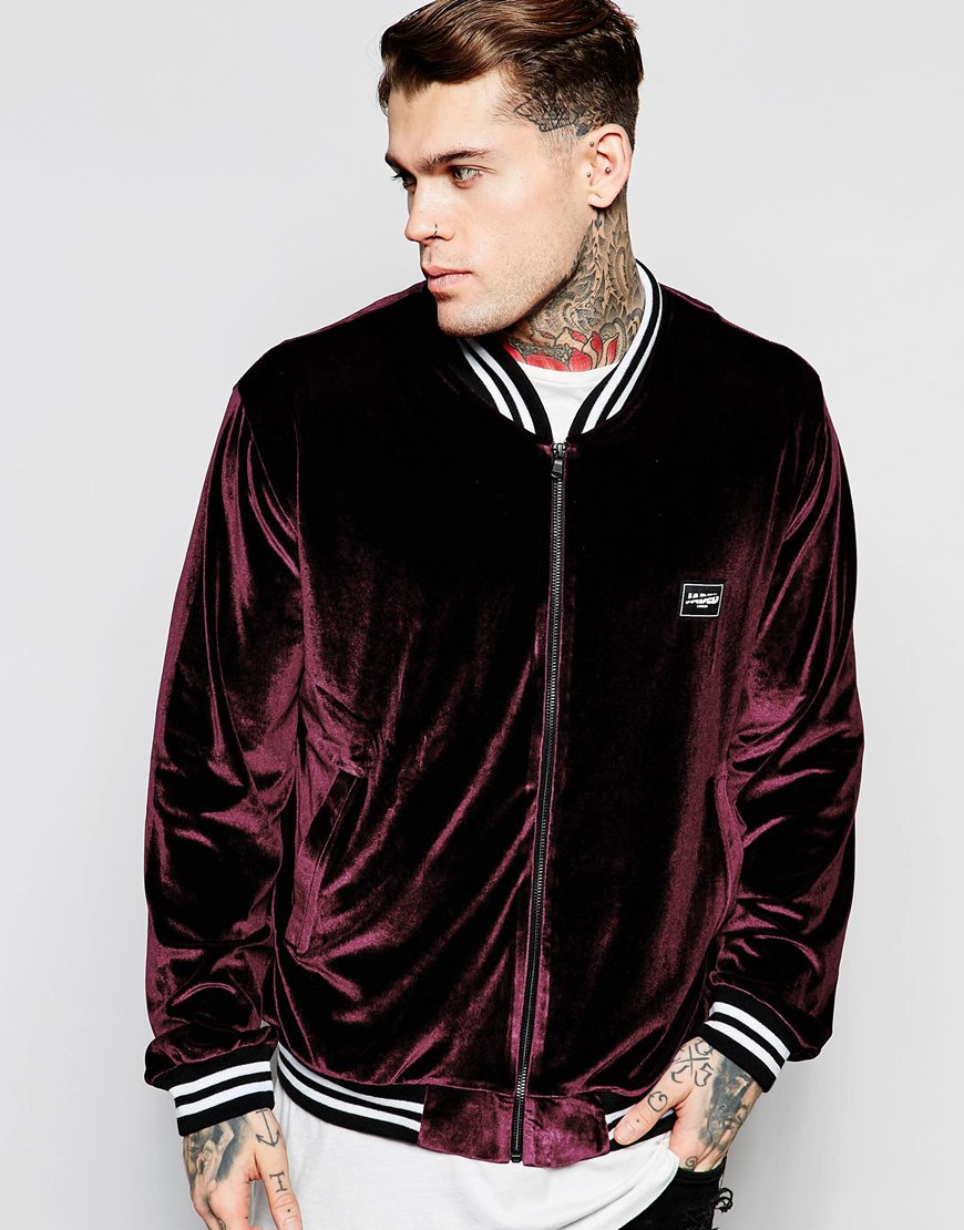Jaded London Velour Bomber Jacket In Purple For Men Lyst