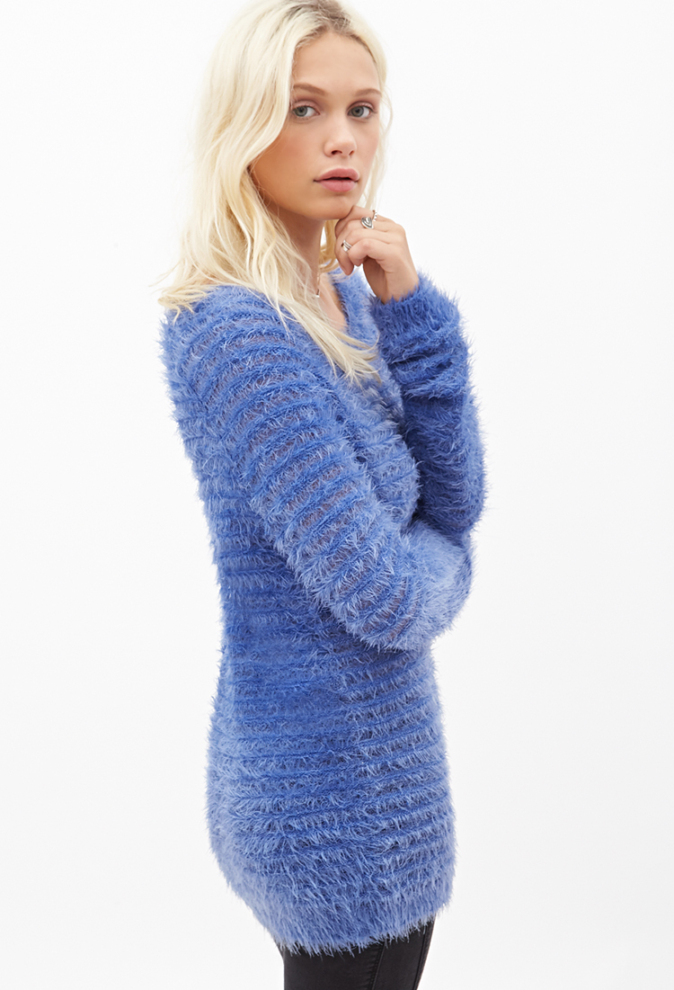 Knitting Pattern For Ribbed Sweater : Forever 21 Fuzzy Knit Ribbed Sweater in Blue Lyst