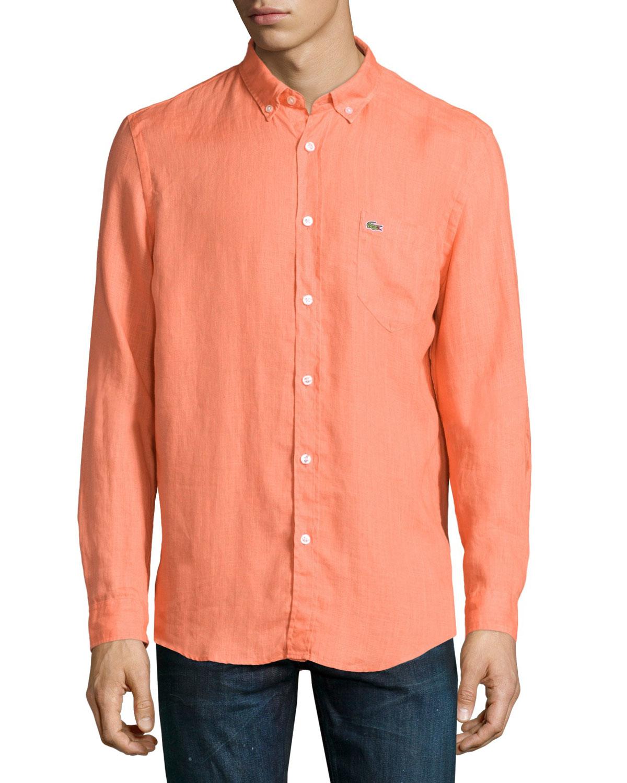 Lyst lacoste linen long sleeve shirt in orange for men for Linen long sleeve shirt