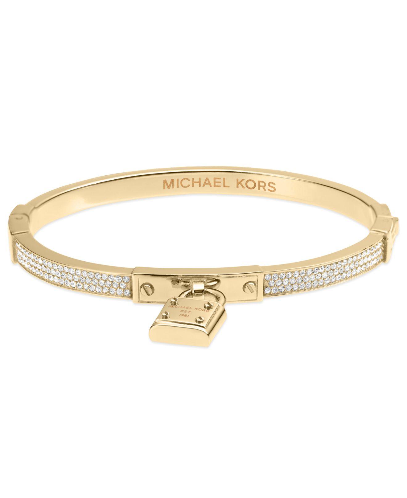 Lyst - Michael Kors Gold-Tone Padlock Charm Bracelet in ...