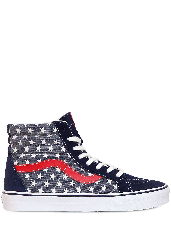 vans sk8 hi van doren canvas high sneakers in blue for men blue red lyst. Black Bedroom Furniture Sets. Home Design Ideas