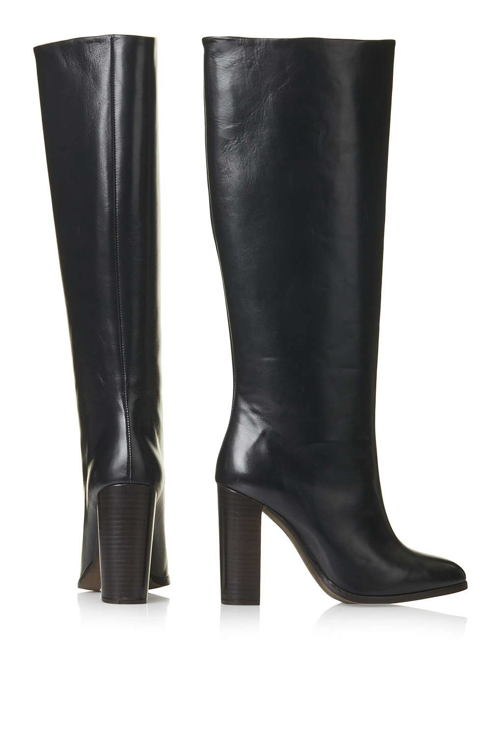 topshop birch leather pull on boots in black lyst