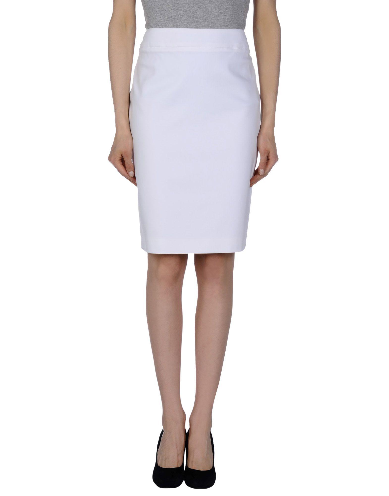 escada knee length skirt in white lyst