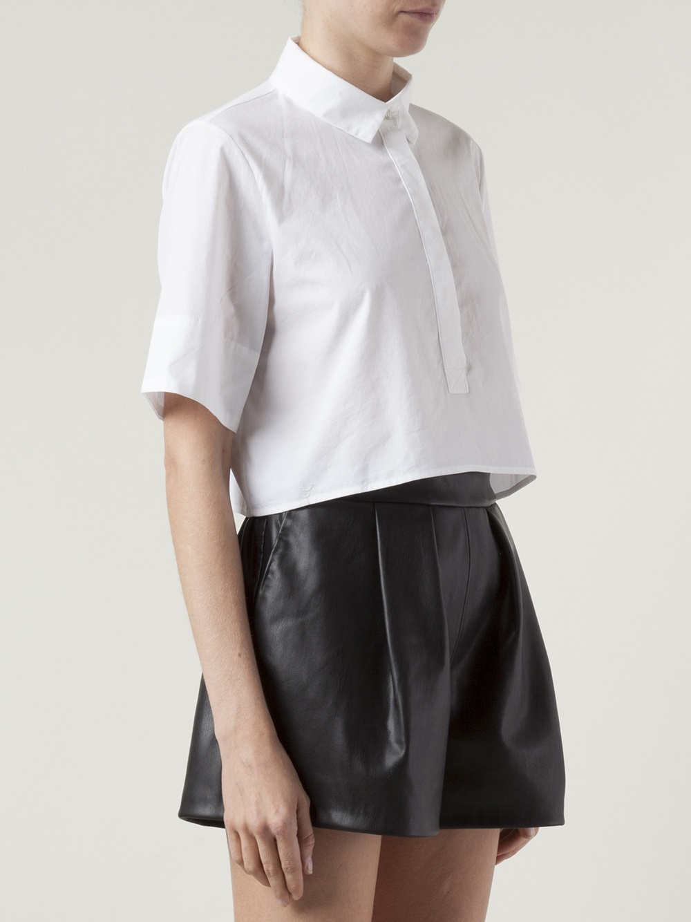 Organic By John Patrick Cropped Button Down Shirt In White