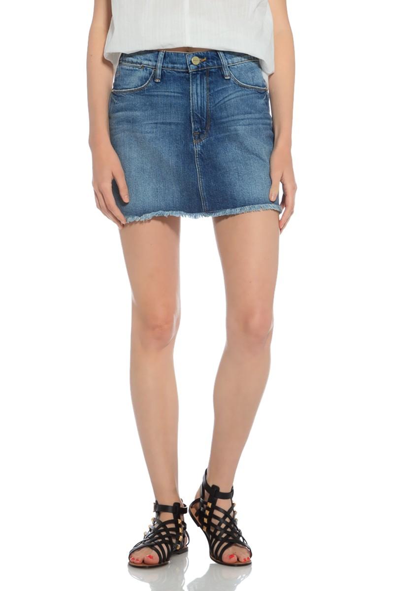 frame denim blue denim mini skirt lyst