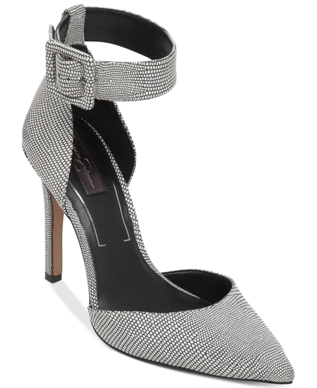 f95ea2bc7b09 Lyst - Jessica Simpson Cayna Ankle Strap Pumps in Metallic