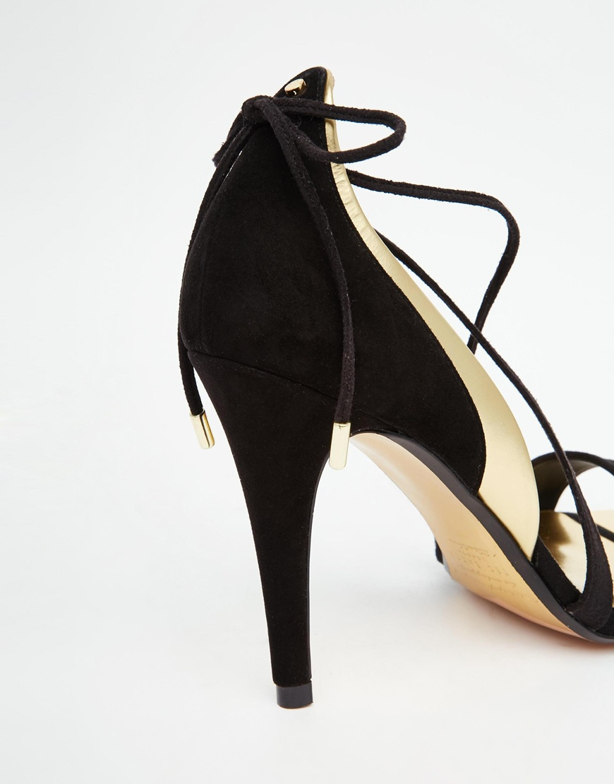 7f02d879a30 Lyst - Ted Baker Houuni Black Gold Strappy Heeled Sandals in Black