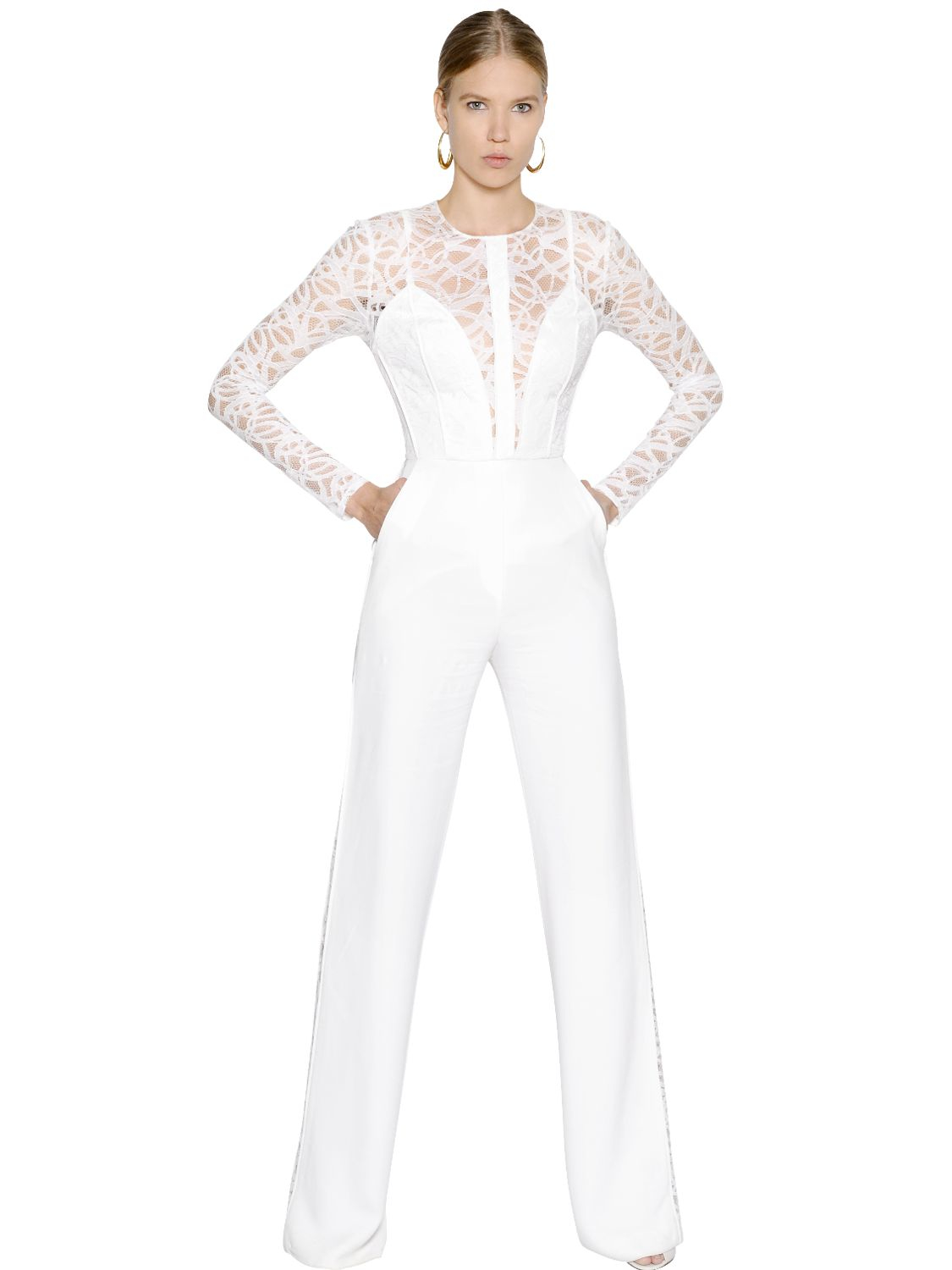 Lyst Elie Saab Cady Amp Lace Jumpsuit In White