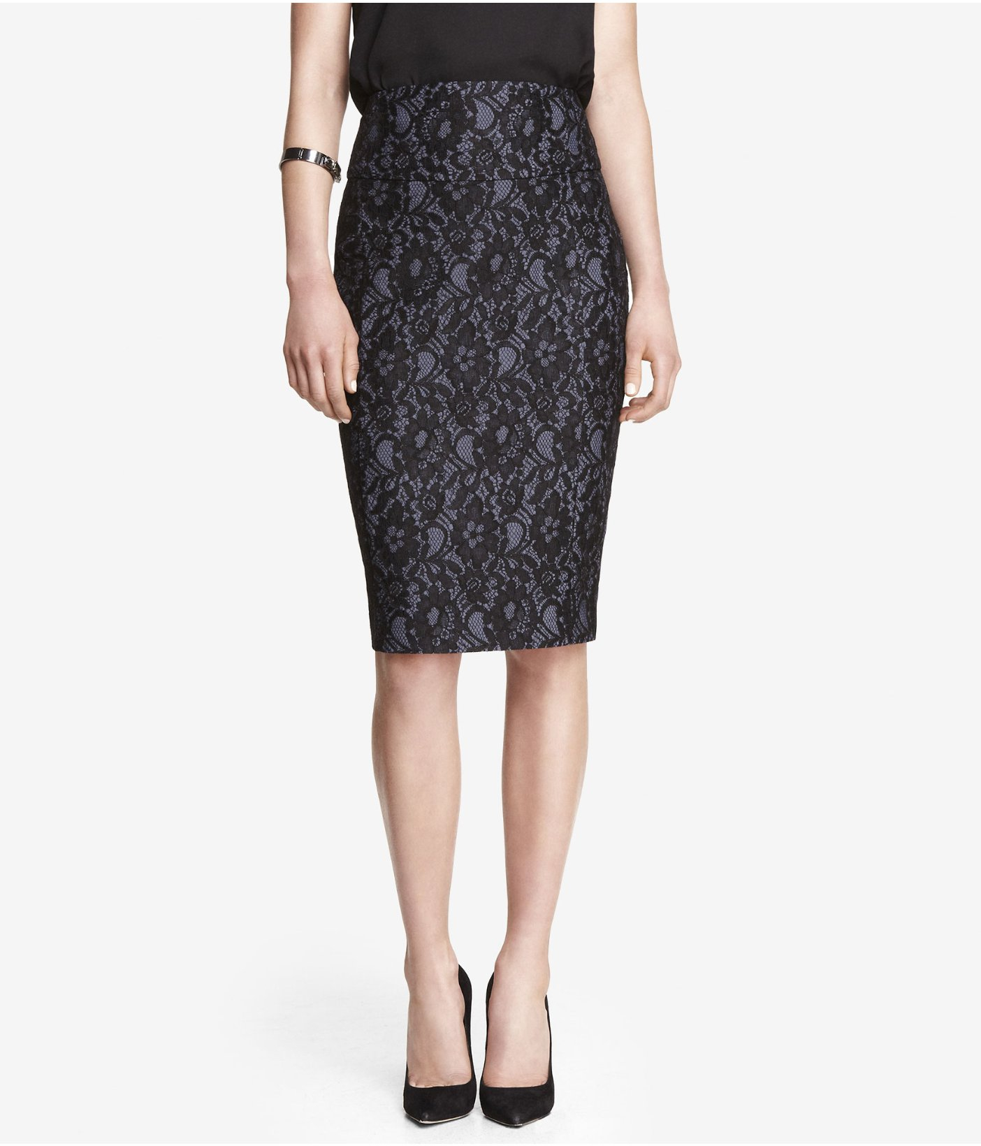 express high waist bonded lace midi pencil skirt in blue