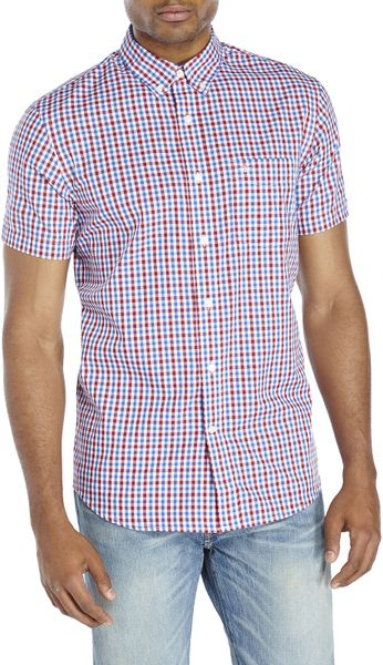 Dockers Blue Red Gingham Button Down Shirt In Blue For
