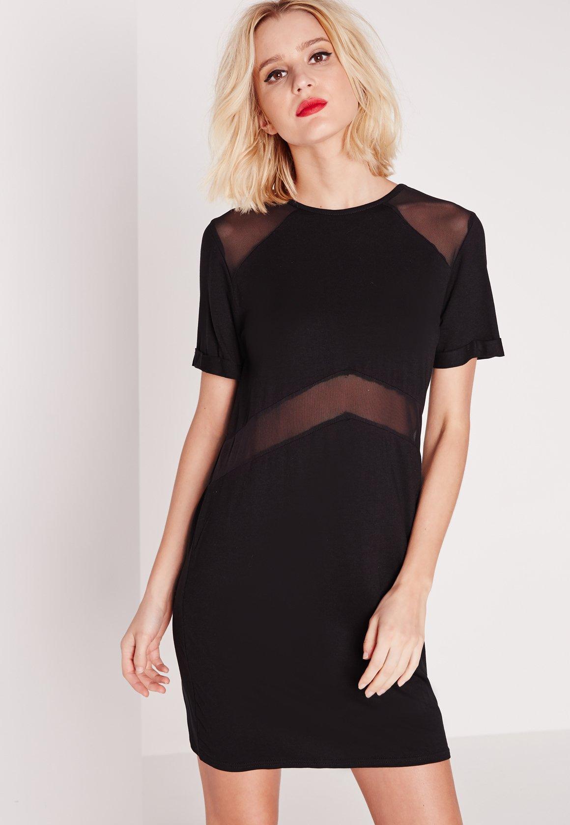 Lyst Missguided Short Sleeve Mesh Insert T Shirt Dress