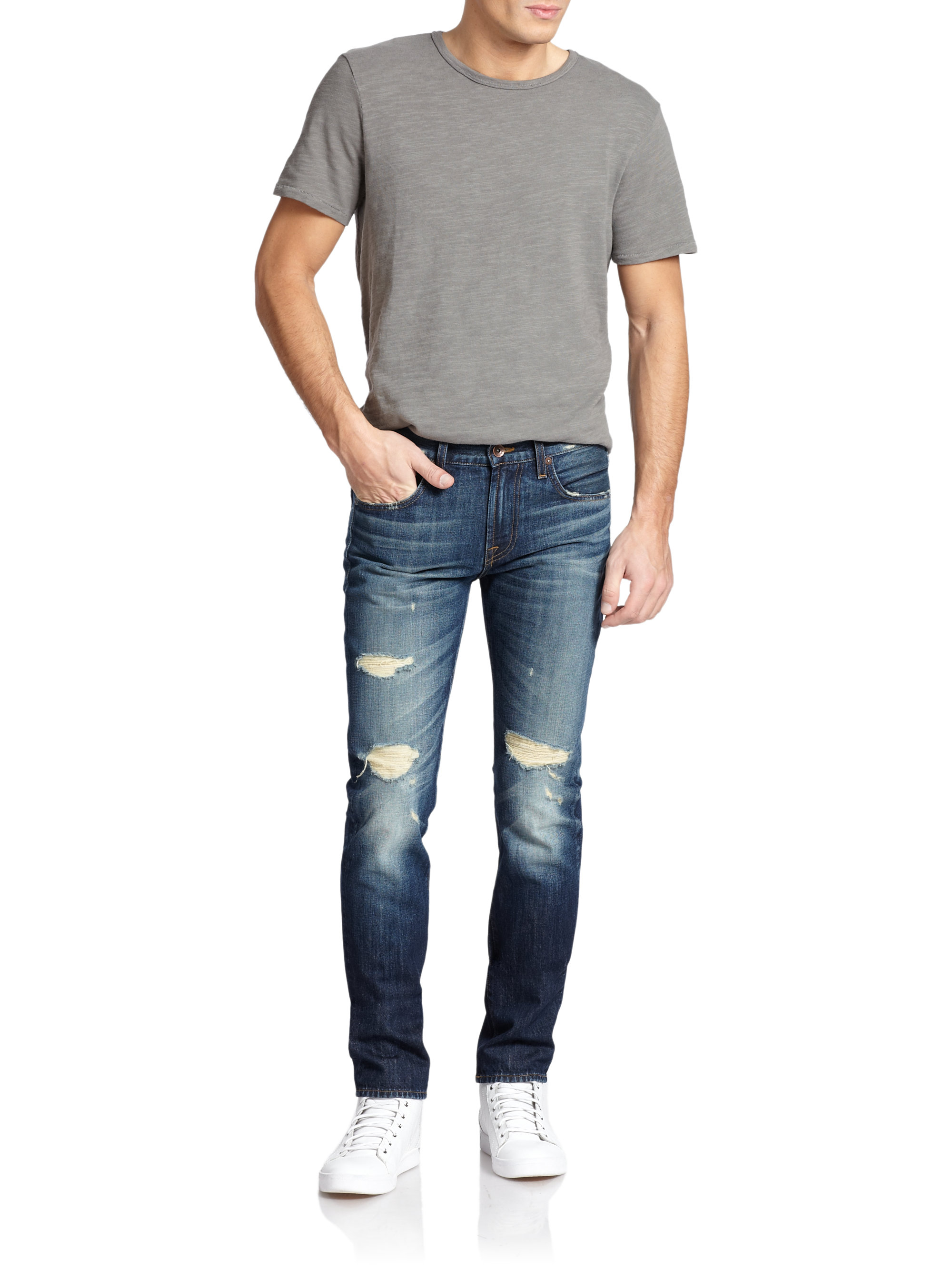 7 for all mankind paxtyn tapered skinny jeans in blue for. Black Bedroom Furniture Sets. Home Design Ideas