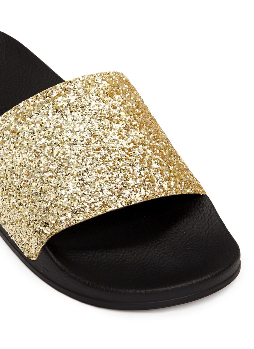 Rubber Rings For Men >> Palm angels Glitter Pool Slide Sandals in Natural for Men | Lyst