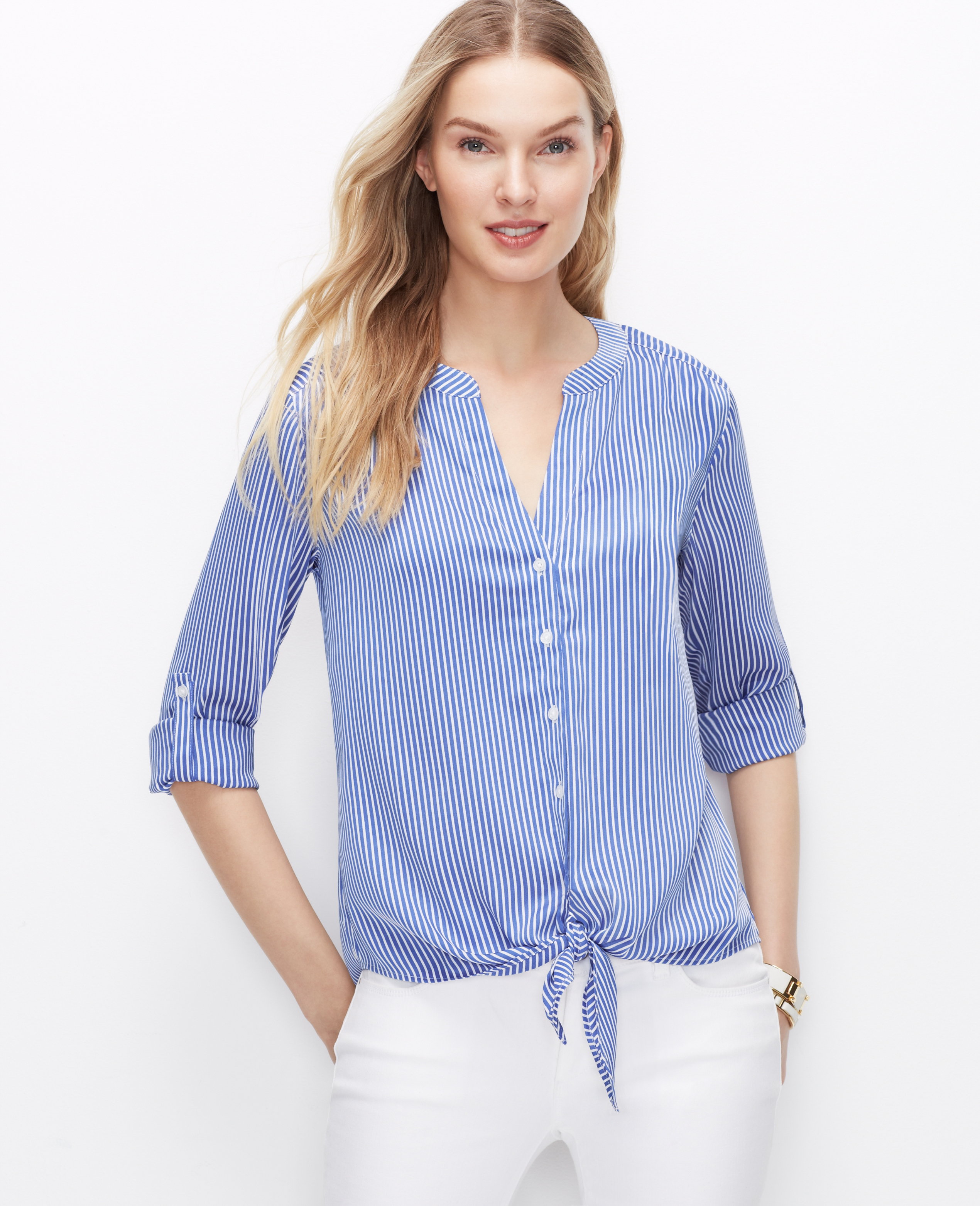 69c87858e41c1 Lyst - Ann Taylor Striped Tie Front Blouse in Blue