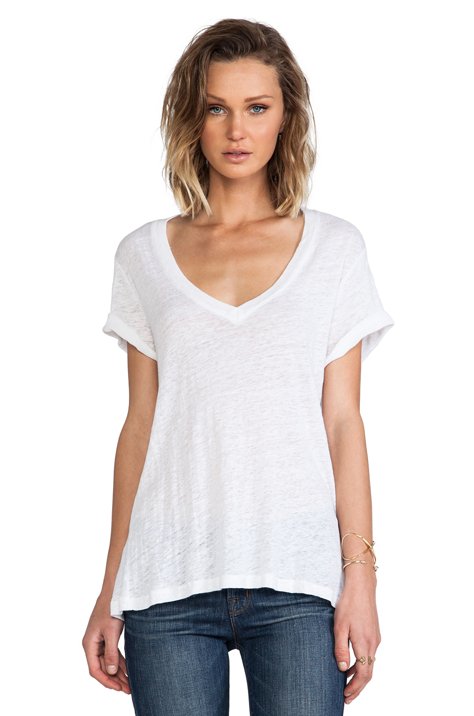monrow linen jersey oversized tee in white lyst. Black Bedroom Furniture Sets. Home Design Ideas