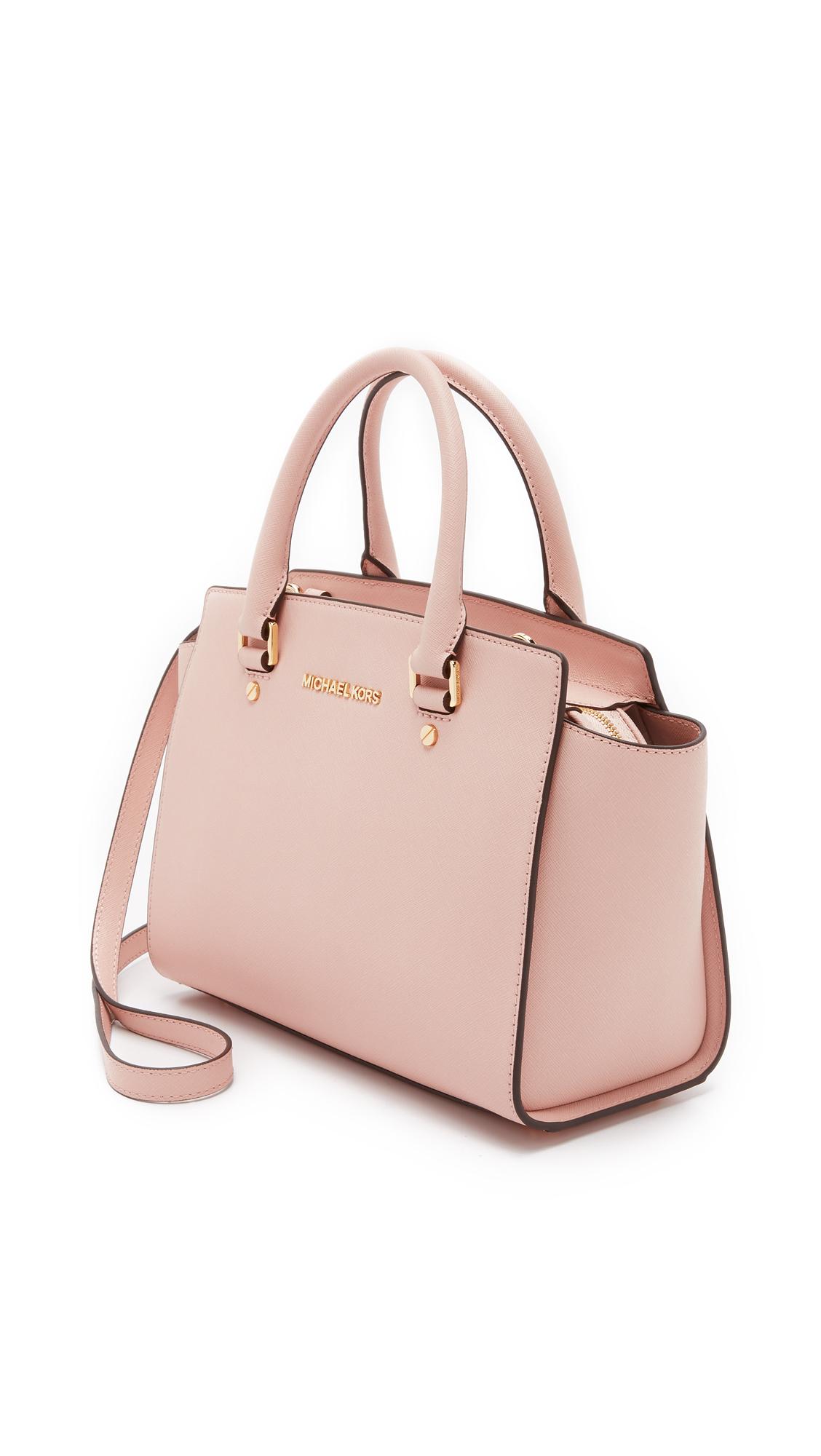 dcc279519375 ... france lyst michael michael kors selma medium satchel ballet in pink  9079e e4ca7