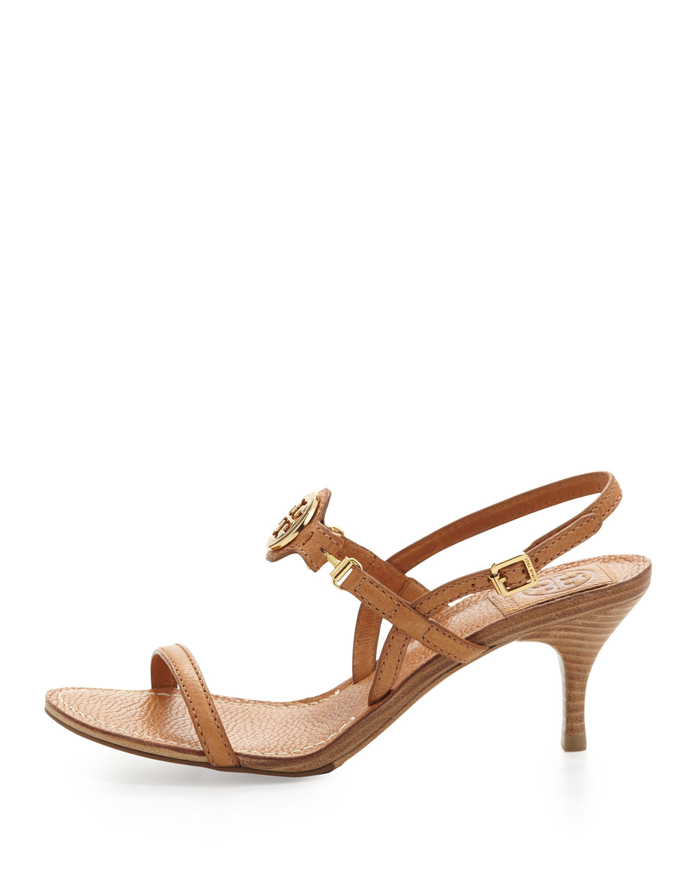 c3c270f79f2b Tory Burch Mira Slingback Logo Sandal Tan in Brown - Lyst