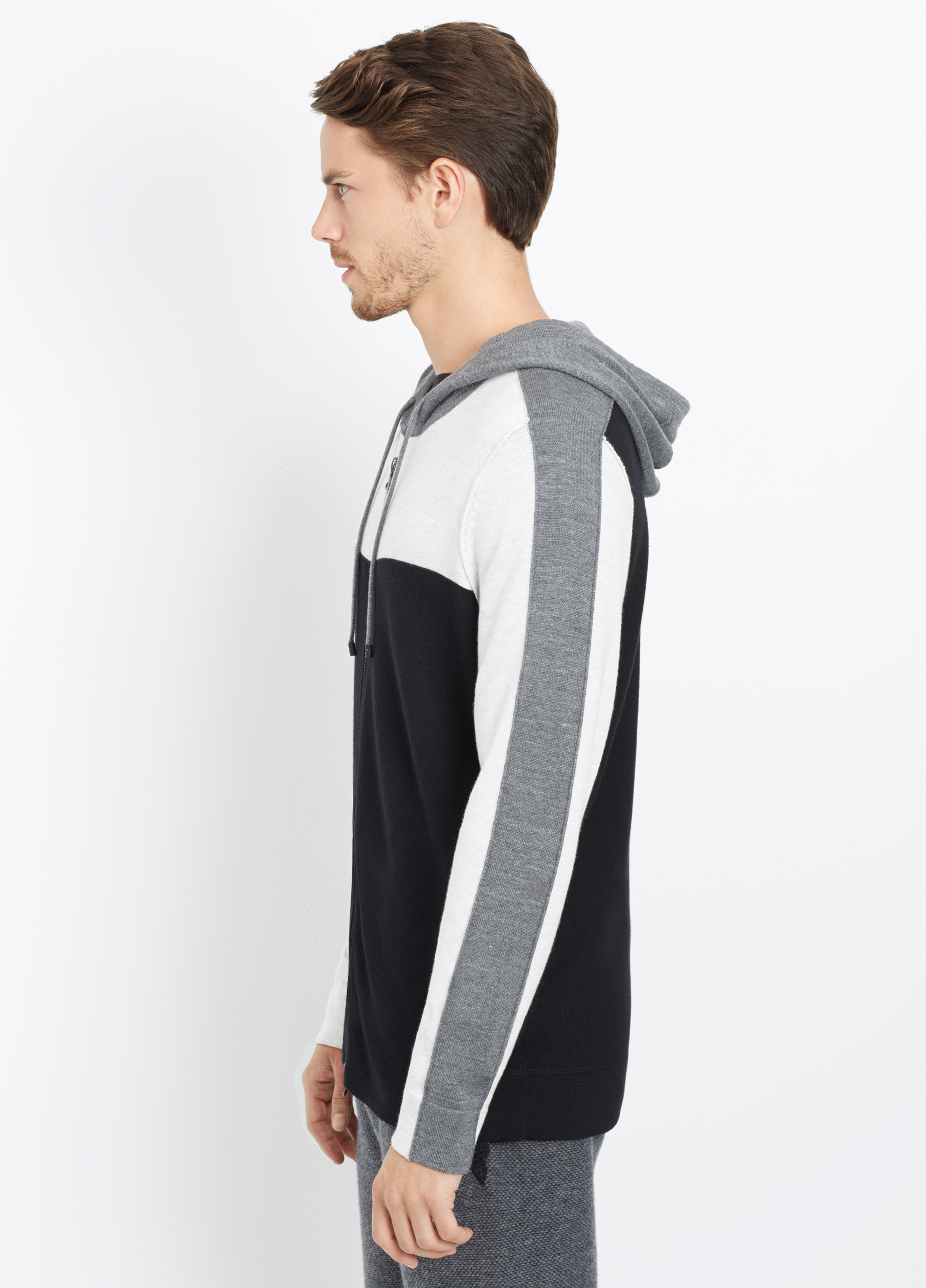 Vince Cashmere Sporty Jaspé Colorblock Zip-up Hoodie in Black for Men