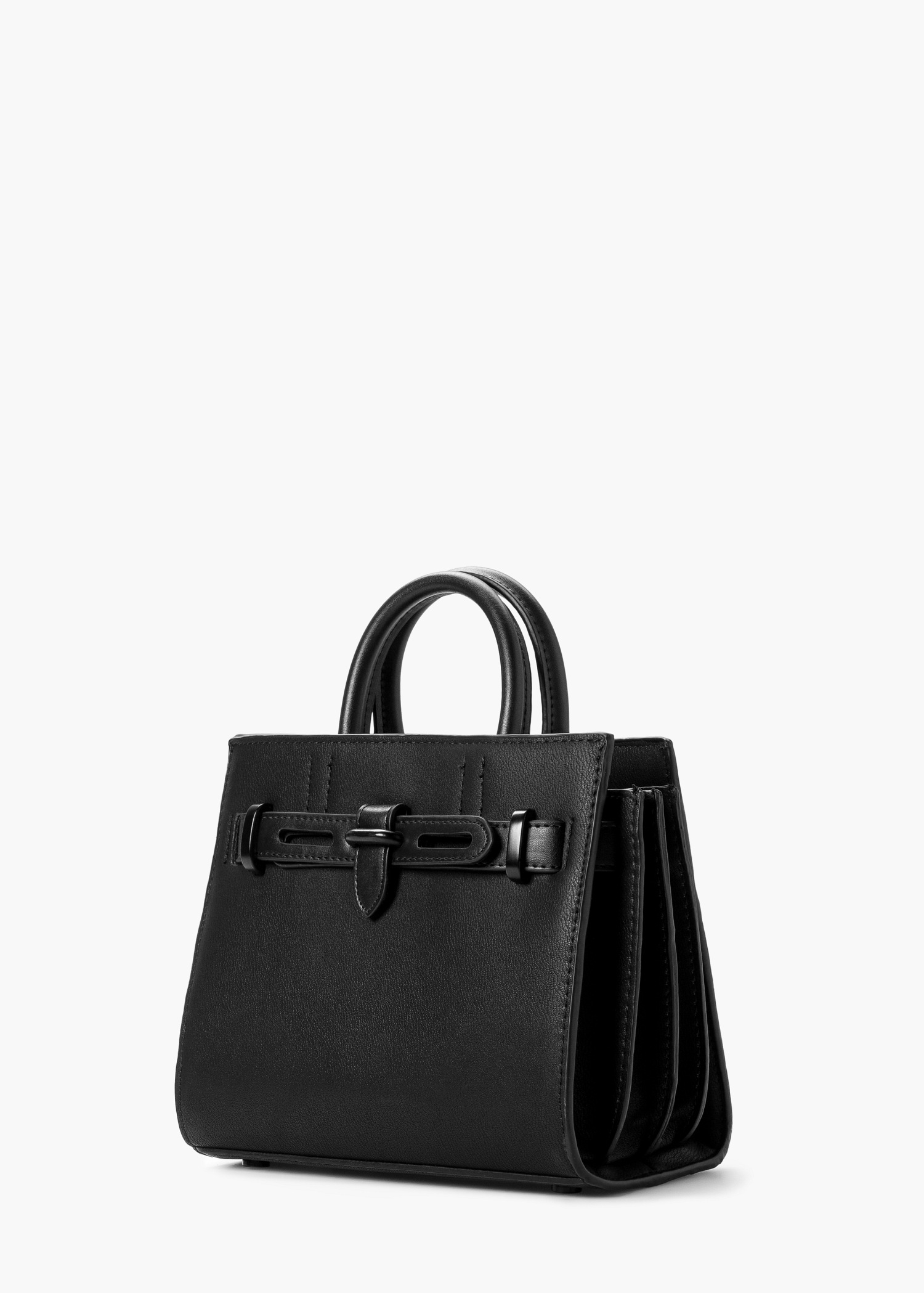 Mango Small Tote Bag in Black | Lyst