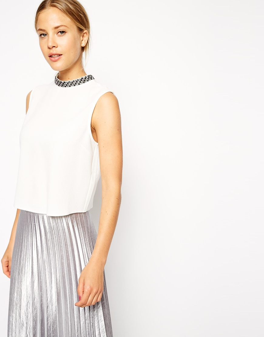 Asos High Neck Top With Embellished Neckline In White