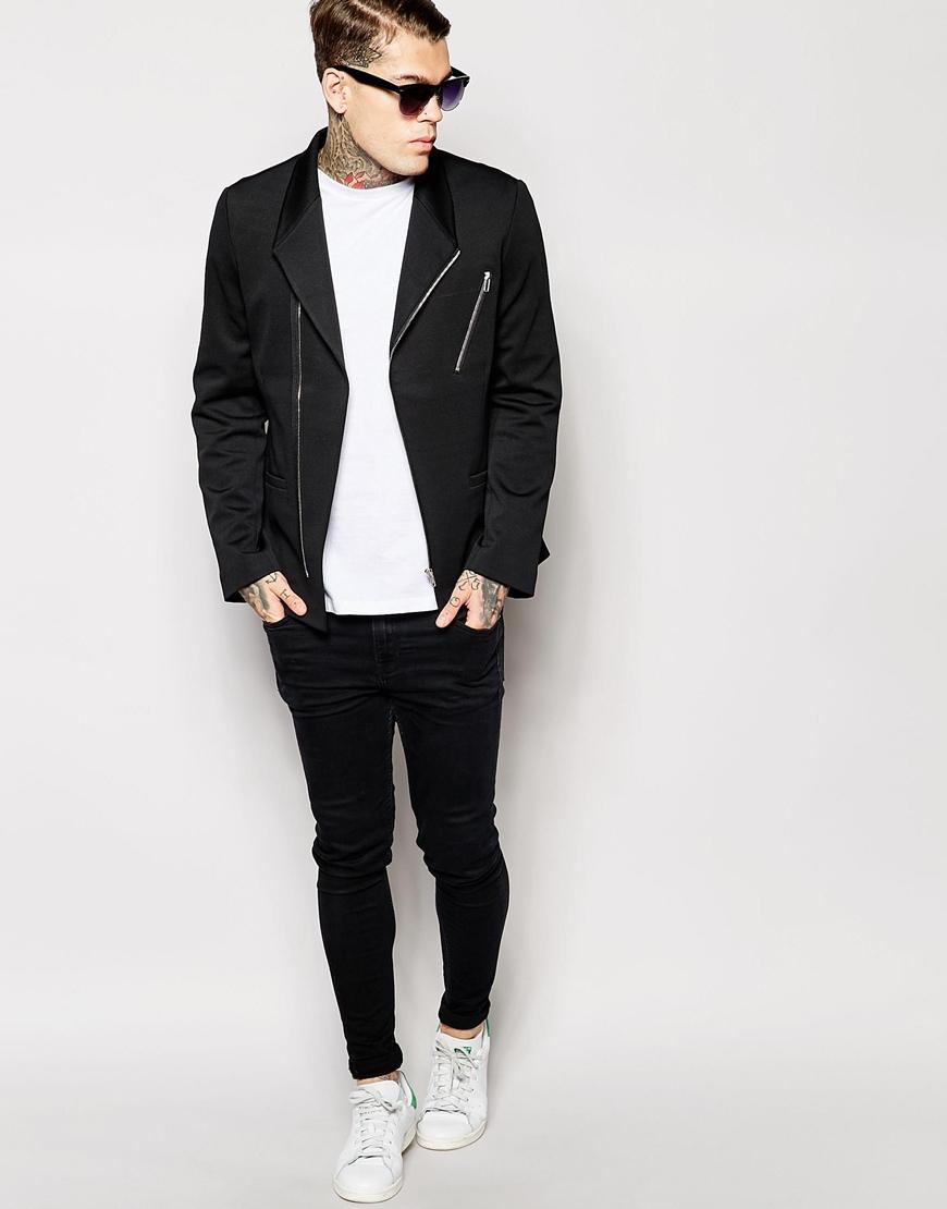 asos slim fit blazer in jersey with biker styling in black for men. Black Bedroom Furniture Sets. Home Design Ideas