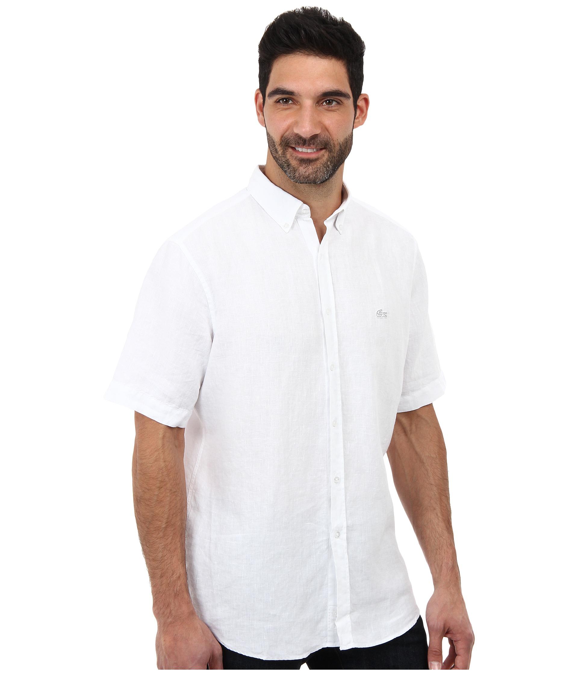 b0f607b5 Men's White Short Sleeve Button Down Linen Woven Shirt