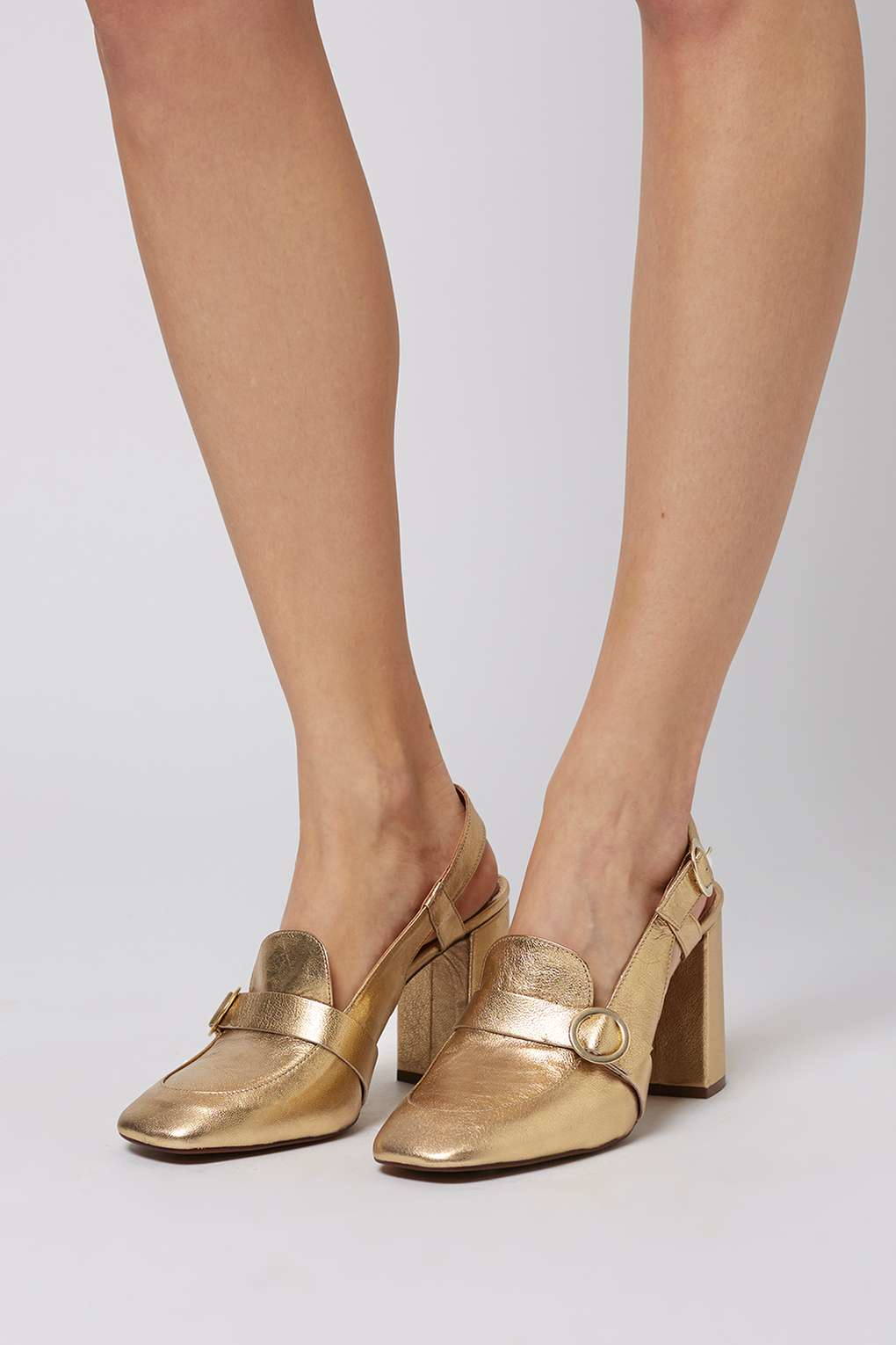 Lyst Topshop Gina Slingback Shoes In Metallic